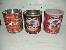 3 Old Vintage Beaumont Coffee Can Tins 34.5 & 39oz.