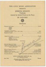 Joseph SZIGETI (Violinist): Signed Program