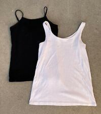 Lot of 2 Black Cherokee & White Old Navy Girls Size 7 Cami Tank Top Undershirts