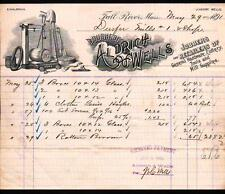 1891 Aldrich & Wells - Fall River Ma - history Retailers Hardware - Letter Head