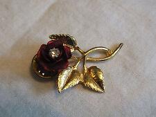 Beautiful Brooch Pin Gold Tone Flower Red Enamel Clear Rhinestone 1 3/4 Inch WOW