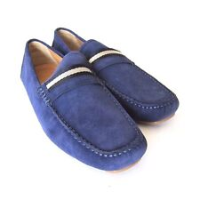 S-1315983 New Bally Wabler Indigo Suede Driver Shoes Size US 12D Marked 11E