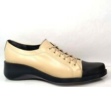 Robert Clergerie Oxford Beige Soft Leather Black Patent Toe US 9 Made In France