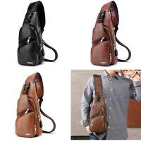Men's Shoulder Bag Sling Chest Pack USB Charging Sports Crossbody Handbag US JV