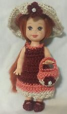 Handmade crochet kelly doll dress clothes ensemble set 4 Barbie sister #k12