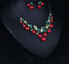 Summer Women Fashion Red Cherry Chain Chunky Choker Necklace Earring Set Jewelry