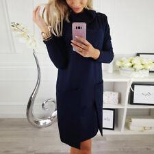 Damen Minikleid Langarm Kleider Winter Pullikleid Sweatkleid Shirtkleid Sweater