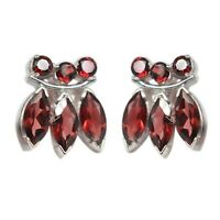 925 Sterling Silver Garnet Gemstone Earrings jewelry 5.40 gms Jewelry CCI