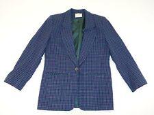 Pendleton Women's Houndstooth 1 Button Blazer Jacket Size 8 Green Purple Coat