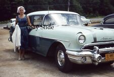 1956 Pontiac Chieftain Car 35mm Slide Kodachrome New York License Plate