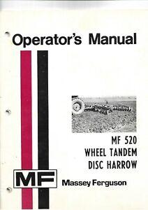 Ferguson MF 520 Wheel Tandem Disc Harrow Operator's Manual & Assembly Notes  USA