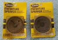 "Pair-2 NOS 1970's SPECO U261S 2-1/4"" Square SPEAKERS Sealed Orig Plastic on Card"