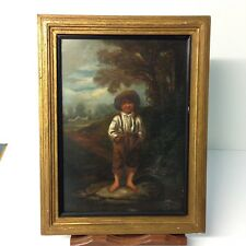 Antique Oil Painting On Board Of A Boy In A Brimmed Hat Dutch Style