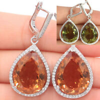 43x19mm SheCrown 17.1g Big Drop 20x15mm Color Changing Spinel CZ Silver Earrings