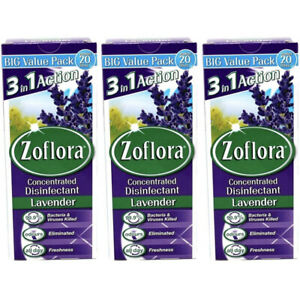 Zoflora Lavender Disinfectant 500ml x3 Surface Cleaner Virus Germs Bacteria