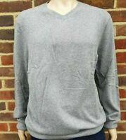 Men`s Denver Hayes V-Neck Merino Wool Blend Jumper Size XL Light Grey