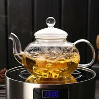 400/600/800/1000ml Heat Resistant Glass Teapot with Infuser Coffee Tea Leaf Herb