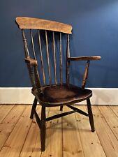 Antique Elm and Oak High Back Grandfather Farmhouse Carver Chair Stick Back