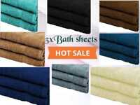 3Pcs Luxury Large Bath Sheets 100% Cotton Bathroom Shower Towel Sheet Pack Of 3