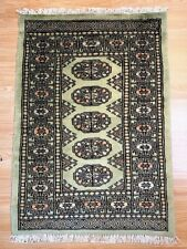 Bokhara Rug in Green - Original Hand Knotted Oriental Wool Rug 63x90cm -40%RRP