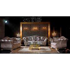 Exklusive Luxus Couchgarnitur Grau-Silber 3-2-1 Sofa-Set Sitzgarnitur Sitzmöbel