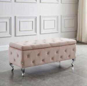 """Monique"" Storage Ottoman Diamond Crystal Tufting in White Faux or Blush Pink"