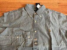 Polo Ralph Lauren denim chambray blue jean shirt brown pony L indigo RL 67 usa