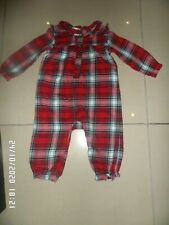 TU BABY GIRLS WOVEN RED CHECK ROMPER 12-18 MONTHS EXCELLENT CONDITION