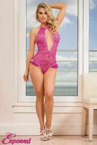 Magic Silk Lingerie Keyhole Teddy with Snap Crotch Pink Large