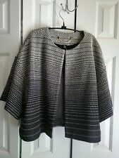 CHICO'S BLACK LABEL 3XL TWEED Black White 3/4 Flare Sleeve Jacket Blazer