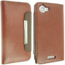Per Sony Xperia L S36h PELLE Custodia Cover Flip Wallet Style pelle C2104 C2105