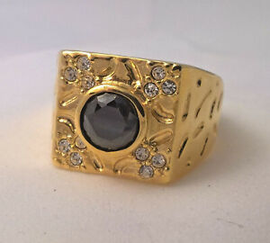 G-Filled 18ct yellow gold Men's ring simulated diamond dark blue sapphire Gent's