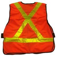New CSA Z96 Red Mesh Reflective Safety vest 5-point tear-away High Visibility