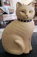 VINTAGE SITTING CAT KITTY BISQUE STATUE