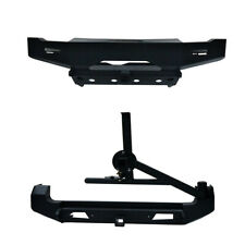 Fit  98-15 Suzuki Jimny Black Front+Rear Bumper Bar w/Jimny Logo & Tire Carrier