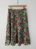 "Vintage Floral A Line Midi Skirt Size 10? 29"" Arts and Crafts Style Print"