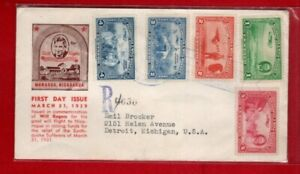 Nicaragua #C236-240 Will Rogers Set of 5 - Registered FDC for Earthquake Relief