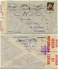 SOUTH AFRICA to BARBADOS 1944 WW2 CENSOR SOLO FRANKING WAR ISSUE 1/3..FLINT HALL