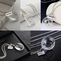 Dandelion Seeds in Glass Dandelion Long Women Gift Wish Pendant Necklace