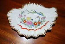 Superb Old Paris Style Gold And Hand Painted Enameled Flowers Shell Oval Dish #2