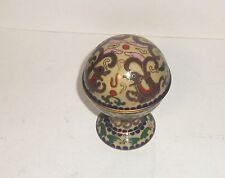CHINESE CLOISONNE ENAMEL PIXIU DRAGON DESIGN CREAM COLOR JAR BOX