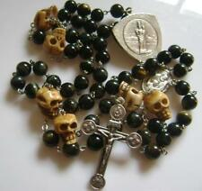 *RARE Blue Tiger Eye Jade BEADS & Old Bone Skull ROSARY CROSS Catholic Crucifix