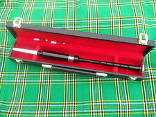 STANDARD AFRICAN BLACK WOOD PRACTICE CHANTER WITH SOFT LEATHER CARRYING CASE
