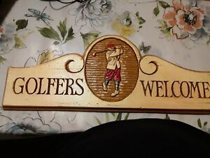 WOODEN GOLF SIGN for MAN CAVE HANGING Golfers Welcome 1998 VINTAGE Slot 2 Hang