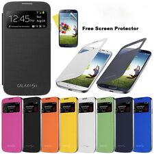 New Slim S View Flip Case Cover For Samsung Galaxy S4 & S4 Mini + Screen Guard
