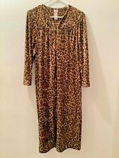 SECRET TREASURES Womens Long Plush Robe Full Zip Brown Animal Print XL