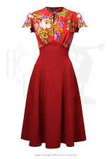 NWT Sold Out House Of Foxy Vintage 40's Style Grable Tea Dress Crimson Dreams 12
