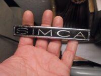Ancien Logo de capot ou coffre SIMCA Métal SIFMA  : sans piton