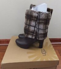 * $395 UGG Womens Size 10 Dark Brown Leather SAVOIE Stoud Plaid Tall Heel Boots