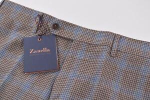 Zanella NWT Dress Pants Sz 32 Browns & Blue Plaid Wool/Cashmere Curtis Slim